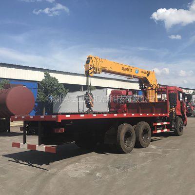 东风挖机平板拖车带随车吊 折叠随车吊平板拖车10吨 厂家现货可分期
