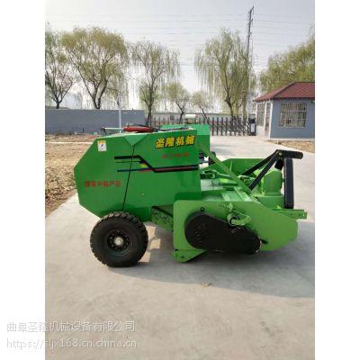 玉米秸芦苇秸粉碎打捆机 圆草捆捆草机厂家 圣隆牌