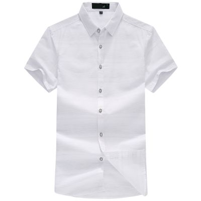 忆惜格罗2017夏季新品青年男士短袖衬衫 男式合体翻领商务时尚条纹职业男装衬衣