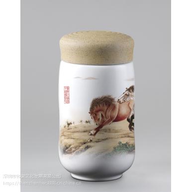 和瓷天和皇家精品陶瓷紫砂古韵鸟语花香保温杯志在千里马茶杯随身杯玉映砂商务办公庆典礼品