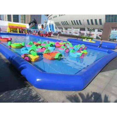 移动水上乐园设备厂家 大型户外支架游泳池充气水上滑梯 组合水池支架水池