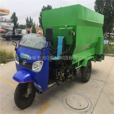 省人工喂牛自动投料车 润众加厚钢板机身撒料车