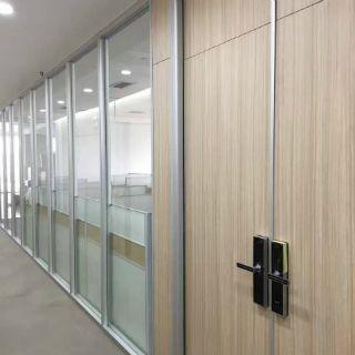 办公室写字楼铝合金隔断墙 双玻带百叶