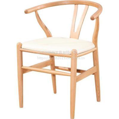 倍斯特热销简约现代实木扶手Y字椅休闲中餐奶茶料理餐椅厂家定制