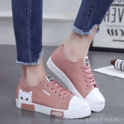 新款秋天女鞋初中生帆布鞋女式板鞋韩版高中生休闲鞋少女平底布鞋