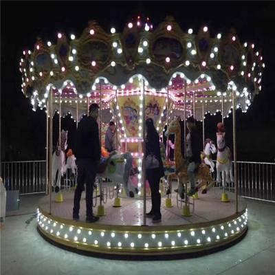 室內外電動玩具轉馬16座超豪華旋轉木馬電動可移動折疊旋轉木馬