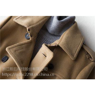 徕倩17新品850克全羊毛水波纹廓形时髦感无扣连帽外套