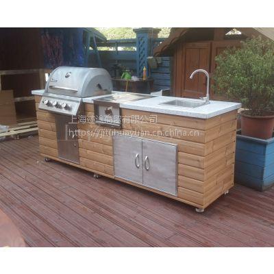 北欧小院G240 抛光碳化木户外整体厨房 别墅庭院烧烤台 烧烤台图片