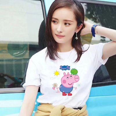 2018女装夏季新款韩版卡通时尚印花宽松短袖女t恤纯棉上衣