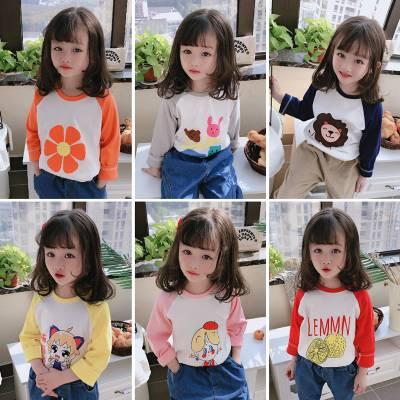 春季男女童纯棉潮版T恤批发新款秋季儿童打底衫批发便宜时尚的秋季童装T恤