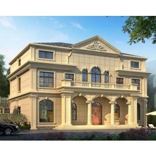 抚州别墅设计AT1785二层半法式风格别墅设计施工图纸16.2mx13m