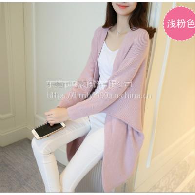 2018韩版春夏装新款女中长款针织衫开衫宽松蝙蝠袖毛衣女外套批发