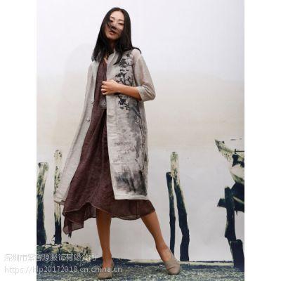 原创设计师一线真丝连衣裙一手货女装 深圳必然简约纯色品牌折扣女装货源供应