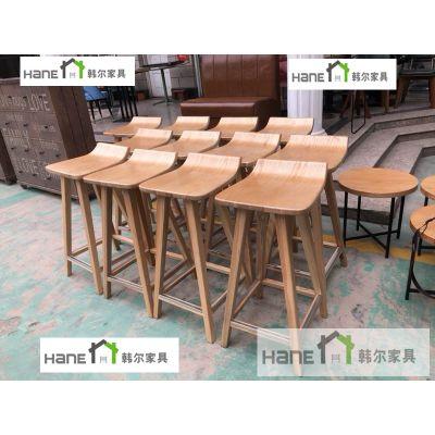 上海韩尔家具厂直销 星巴克实木椅子 新款咖啡椅子