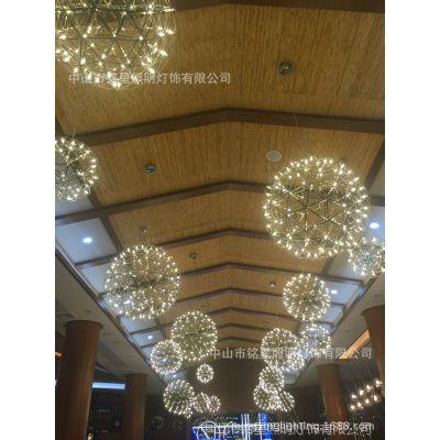 酒店大堂LED星空球灯具厂商场中庭吊饰新款不锈钢LED星空球中庭灯
