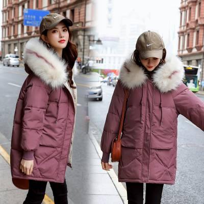 杭州的羽绒服尾货批发市场韩版女装羽绒棉衣外套清仓中长款棉袄批发