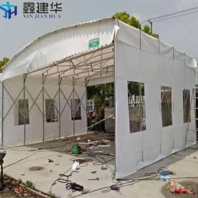 上海崇明区鑫建华订做推拉雨棚布镀锌管活动帐篷工厂仓库蓬固定阳光棚伸缩排挡彩蓬折叠雨篷量大从优