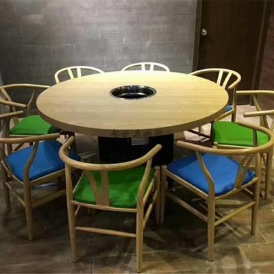 实木贴皮火锅桌子订做,惠州火锅桌椅子组合案例