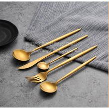 名瑞304镀金西餐刀叉 葡萄牙尖尾拉丝不锈钢勺子 甜品蛋糕叉勺 家居用品餐具