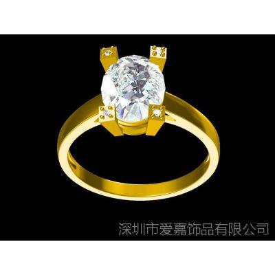 白铜电镀真空真金黄金色镶钻戒指来图来样加工厂家批发首饰