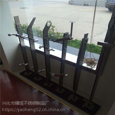 耀恒 厂家直销不锈钢工程玻璃立柱/商场楼梯栏杆/阳台立柱