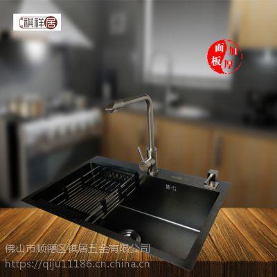 广东顺德祺祥居单槽6045纳米黑金刚不锈钢手工水槽厨房用手工盆洗菜池
