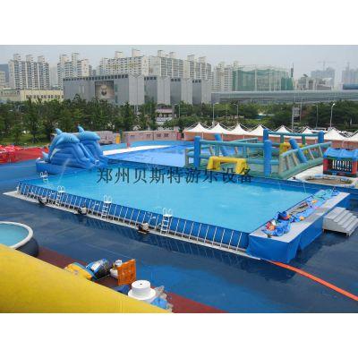 河南室外大型可以拆卸的支架游泳池水滑梯真棒