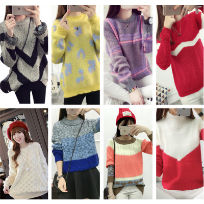 便宜毛衣,女士针织衫,冬季厚毛衣,套头圆领毛衣