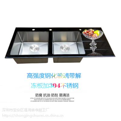 崇净玻璃不锈钢水槽手工盆带板双槽洗菜盆套餐11650