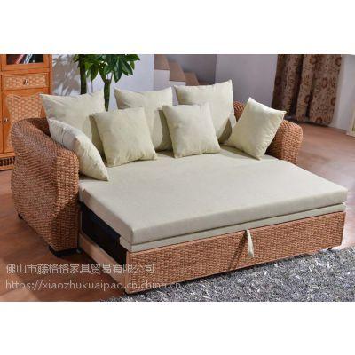 藤格格 1032 厂家批发折叠沙发床组合客厅多功能床竹藤小户型藤艺床椅