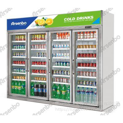 便利店四门冷藏饮料柜多少钱一台? 雅绅宝冷柜厂家直销 商用冰箱
