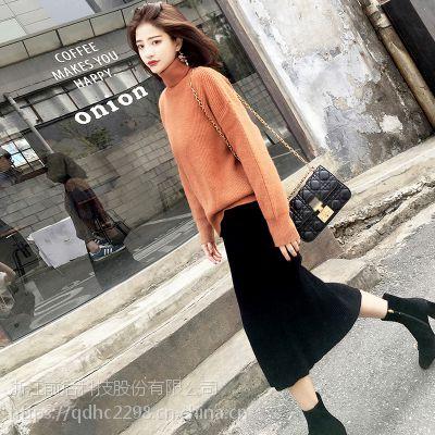 2017秋冬新款纯色气质chic高领毛衣女套头韩版长袖打底