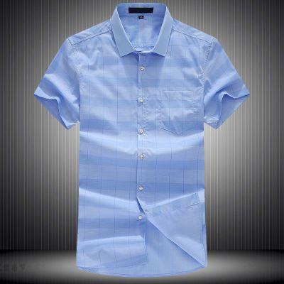忆惜格罗 2017夏季青年新品男式薄款短袖衬衫 格子开衫商务男装透气衬衣