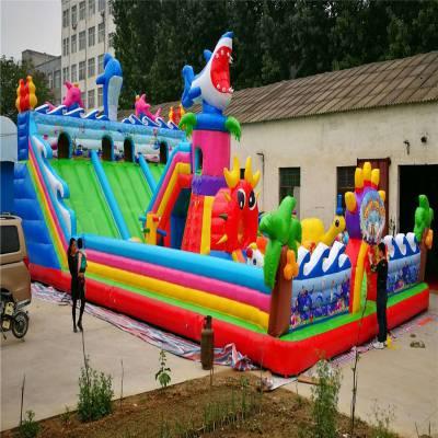 充氣跳跳床兒童充氣城堡游樂設備廣場景區小豬佩奇充氣攀巖大滑梯