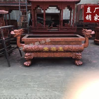 厂家直销新款龙头香炉长方形平口香炉铸铁插香寺庙香炉宗祠道观炉