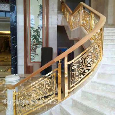 传统与现代的碰撞铝板雕刻楼梯护栏直销