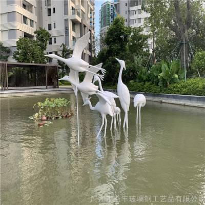 供应佛山公园动物白鹭雕塑 玻璃钢动物造型雕塑