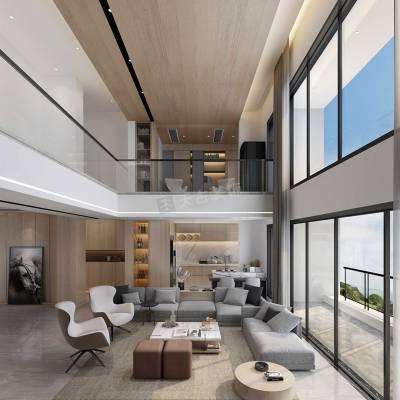 壹号湖畔四期跃层装修案例,约克郡北区洋房顶跃户型设计方案