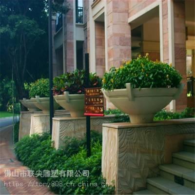 别墅花园小区花盆玻璃钢雕塑-联尖雕塑