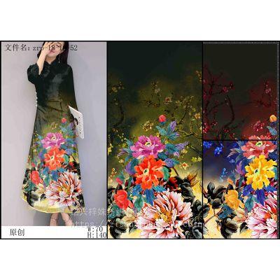 旗袍数码印花 时尚旗袍印花加工 潮流旗袍花型