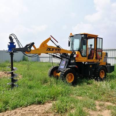 装载机改水泥杆挖坑机 电线杆打孔机 电力挖坑机 电线杆钻坑机 洪涛