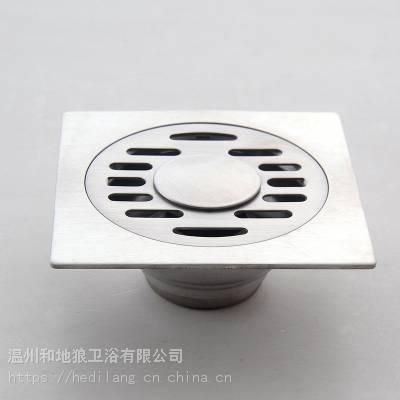 和地狼不锈钢地漏卫生间下水道方形洗衣机浴室淋浴房HDL-4001A