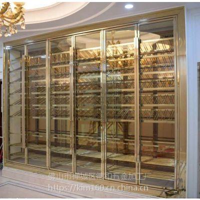 简约现代不锈钢酒柜厂家玫瑰金红酒柜餐厅酒店KTV不锈钢酒柜定制