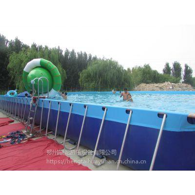 移动充气水上乐园儿童玩具 冲关支架游泳池设备厂家直销 移动式游泳池充气滑梯乐园