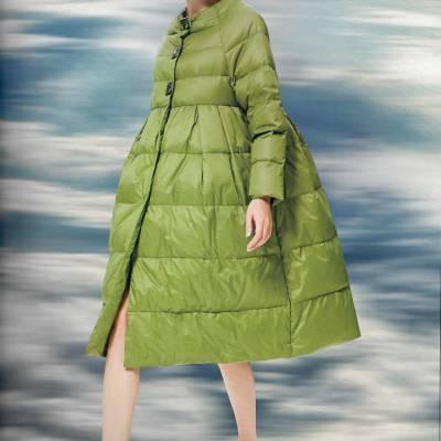 广州服装批发市场欧E黑马蓝高端立领双面呢大衣女走份批发