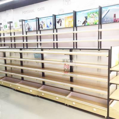 广州化妆品展柜 厂家定制 新款铁木结合化妆品店货架 展示柜整店输出