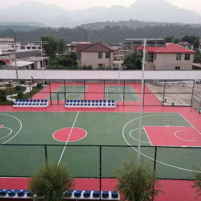 德朝体育厂家直销 新国标 塑胶硅PU球场材料 学校操场球场 体育场运动球场 篮球场 羽毛球场 网球场