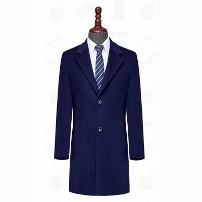 LXD803贵州男大衣定做宝蓝色50%羊毛古巴领单排两粒扣商务男大衣