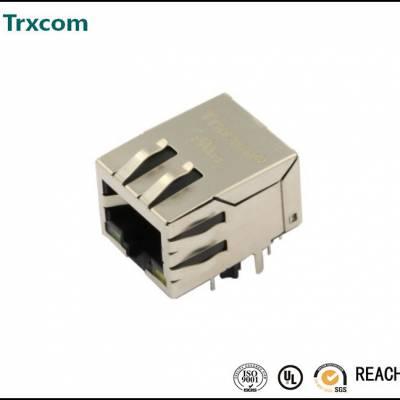 单口RJ45集成滤波器插座1000M千兆隔离变压器母座 带灯弹片连接器
