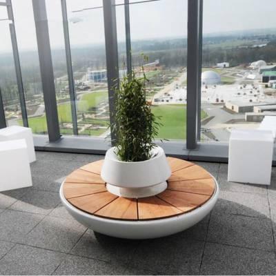 厂家直销创意玻璃钢休闲座椅 圆形花盆坐凳 户外美陈装饰公园椅子